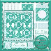 Patchwork Xmas 1 Easel Card Jade