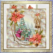 Santa dresses the tree 7x7 card with decoupage