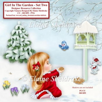 Girl In The Christmas Garden Set Two Designer Resource Kit png