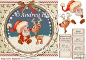 7.5 x 7.5 Card Topper Santa and Rendeer