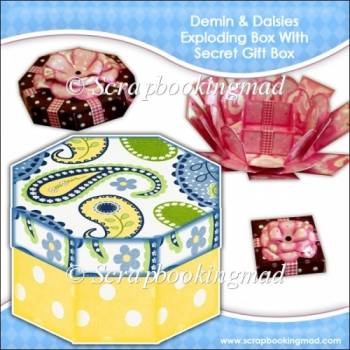 Demin & Daisies Octagonal Exploding Box With Secret Gift Box
