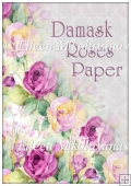Damask Watercolor Roses Backing Background Paper