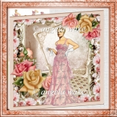 Lady with style 7x7 approx card with decoupage