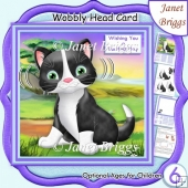 PURRFECT CAT WOBBLY HEAD CARD 7.5 Decoupage & Insert Kit