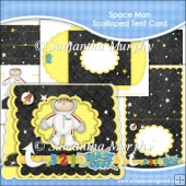 Space Man Scalloped Tent Card
