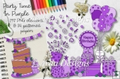 Party Time In Purple CU Clipart & Paper
