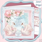 WEDDING VERSE & SWANS 7.5 Decoupage & Insert Card Kit