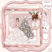 ROSE GOLD CHRISTMAS TREE & LADY Long Dress 7.5 Decoupage
