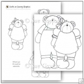 Country Girl and Boy Bears Digital Stamps / Line Art