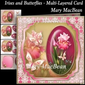 Irises and Butterflies - Multi-Layered Card