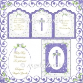 TRI-FOLD BOY CHRISTENING CARD WITH DISPLAY BOX