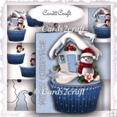 Shaped snowman cupcake card set