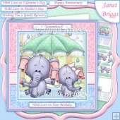 ELEPHANTS IN THE RAIN 7.5 Decoupage & Insert Kit