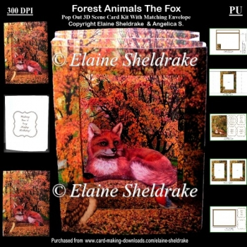 Forest Animals The Fox 3D Pop Out Concertina Scenic Box Card Kit