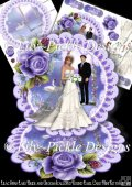 Lilac Swan Lake Bride and Groom Scalloped Round Easel Card