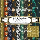 Skull & Bones - Ten Sheets of 12 x 12 Backing Papers Set One