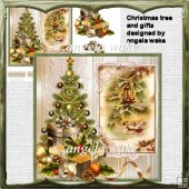 Christmas tree and gifts card with decoupage