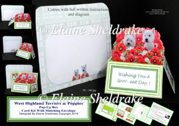 West Highland Terriers Pop-Up Box Card Kit & Matching Envelope