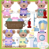 Spring Cleaning Bears Clip Art