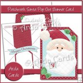 Patchwork Santa Pop Out Banner Card