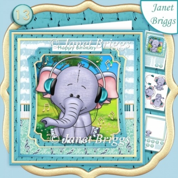 ELEPHANT WITH HEADPHONES 7.5 Decoupage Ages & Insert Kit