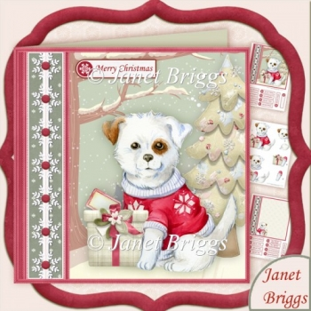 Puppy's Christmas Gift 7.5 Decoupage Kit
