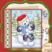 Penguins Just Chillin Snowman Christmas 7.5 Decoupage Kit