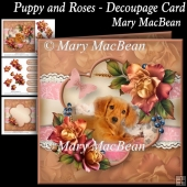 Puppy and Roses - Decoupage Card