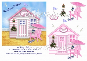Thinking Of You Pink Beach Hut 6 x 6 Card Topper With Decoupage