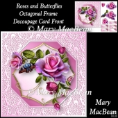 Roses and Butterflies Octagonal Frame Decoupage Card Front