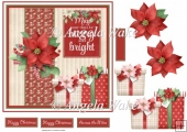 Poinsettias and gifts 7x7 card with decoupage