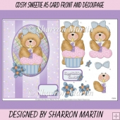 CDS91 Sweetie A5 Card Front with Decoupage