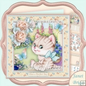 Kitten in the Garden 8x8 Decoupage Kit