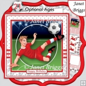FOOTBALL STRIKER 7.5 Red Soccer Decoupage & Insert Mini Kit