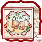 CHRISTMAS ROBINS ON MOON 8x8 Decoupage & Insert Kit
