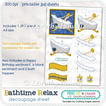 Bathtime Relax Decoupage Sheet