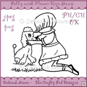 Polly with Puppy Poodle Digital Stamp