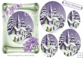 Lovely church scene with purple bow on scroll oval pyramids