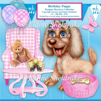 Birthday Girl Puppy Designer Resource For CU 300dpi PNG