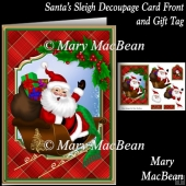 Santa's Sleigh Decoupage Card Front and Gift Tag