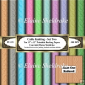 Cable Knitting - Set Two - Ten 12 x 12 Printable Sheets