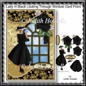 Lady In Black Looking Through Window Card Front