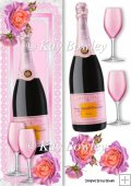 Pink Champagne with pink/peach roses Tall DL