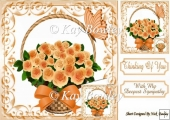 Pretty peach roses in a basket with bow sympathy 8x8