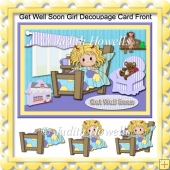 Get Well Soon Girl Decoupage Card Front