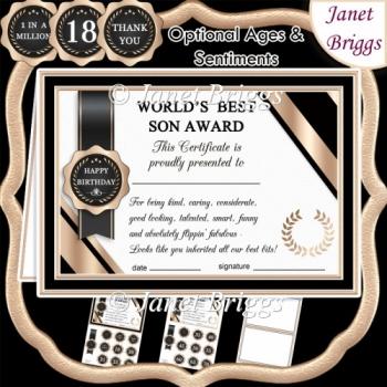 WORLD'S BEST SON Humorous A5 Certificate & Ages Card Kit