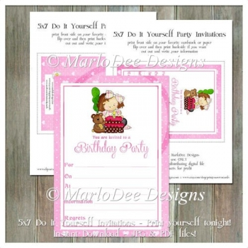 Girly Girl Birthday Party Invitation 5 - Front and Back Included