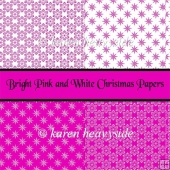 Bright Pink and White Christmas Papers