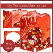 Fiery Rose Scalloped Gatefold Card