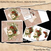 Shabby Chic Vintage Flowers _ Butterfly 8x8 Mini Card Kit